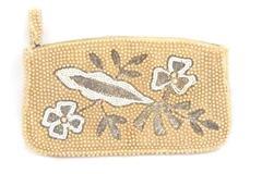 Vintage Art Deco Beaded Handbag Zip Close Pearly Inside Slit Pocket