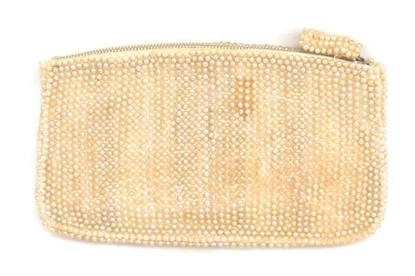 Vintage Art Deco Beaded Handbag Zip Close Pearly Inside Slit Pocket
