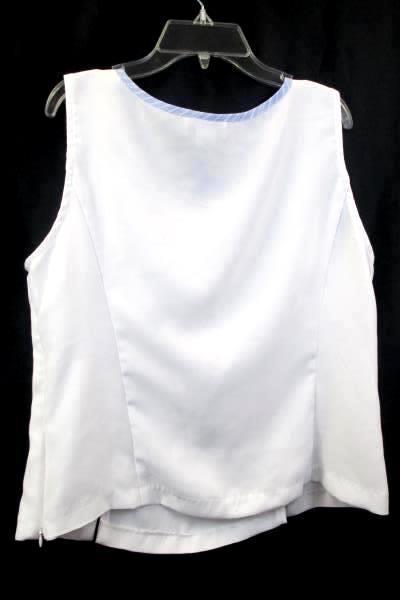 Perceptions Women's Size 12 Tank Top White Blue Stripes