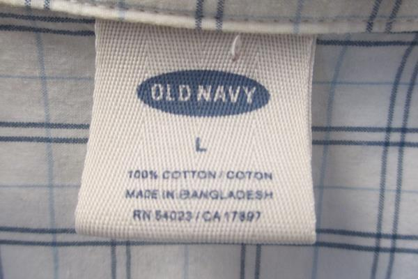 Men's Old Navy Button Up Shirt Long Sleeve White Plaid Size Large