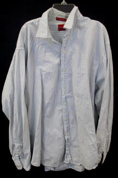 Men's Button Up By Arrow Long Sleeve White Plaid Size L