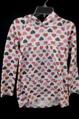 Top w/ Hood & Long Sleeves by Gap Kids White w/ Multi-Color Hearts Girl's Size M