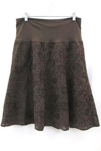 First Option Women's Skirt Size Large Brown Black Design Plaid
