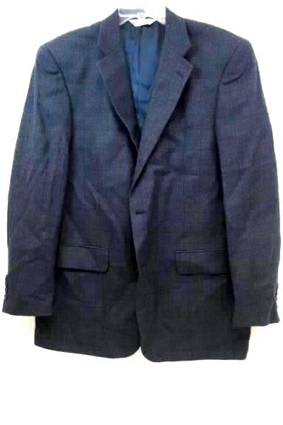 Pronto Uomo Suit Jacket Coat Dark Gray Blue Plaid 100% Lambs Wool Men's Size 44