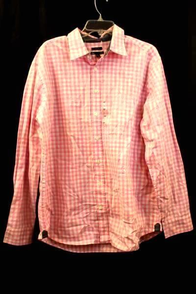 Gap Men's Button Up Shirt Dress Shirt Long Sleeve Pink White Plaid Size XL
