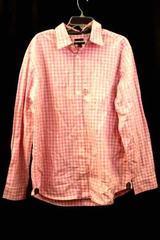 Gap Men's Button Up Shirt Dress Shirt Long Sleeve Pink White Plaid Size XL