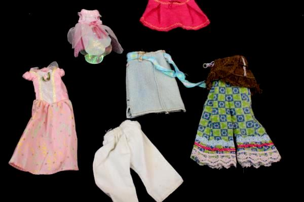 Small Lot of Barbie & Polly Pocket Accessories Shoes Shirts Pants Hats Ect..