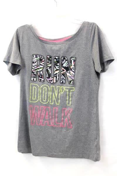 "Live Love Dream Women's Top No Sweat ""RUN DON'T WALK"" Gray Size S/P"