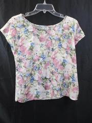 Blouse by Charlotte Russe White Lace Back Multi-Color Floral Women's Size S