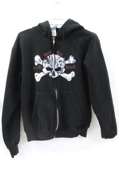 Pirates Of The Caribbean Juniors Size Small Black Zip-Up Sweatshirt ~Disney