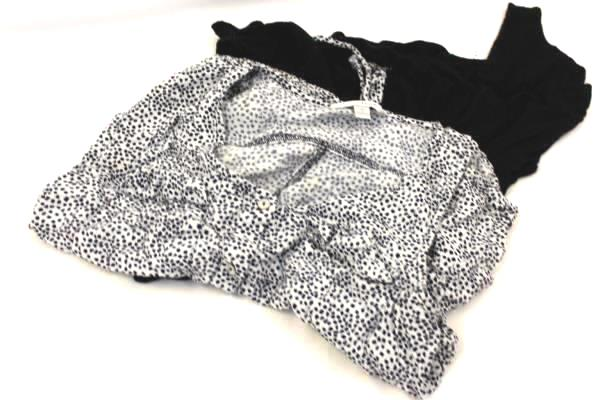 Lot of 2 Women's Living Doll & Charming Charlie Blouse Cardigan Black White Sz S