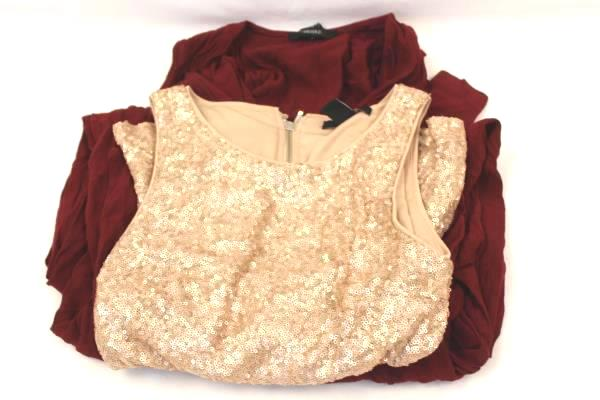 Forever 21 Gold Blouse and Red Jumper Suit One Piece Women's Size Small