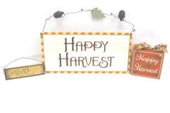 Set of 3 Harvest Autumn Fall Wooden Plaque Wall Hang Pictures Signs