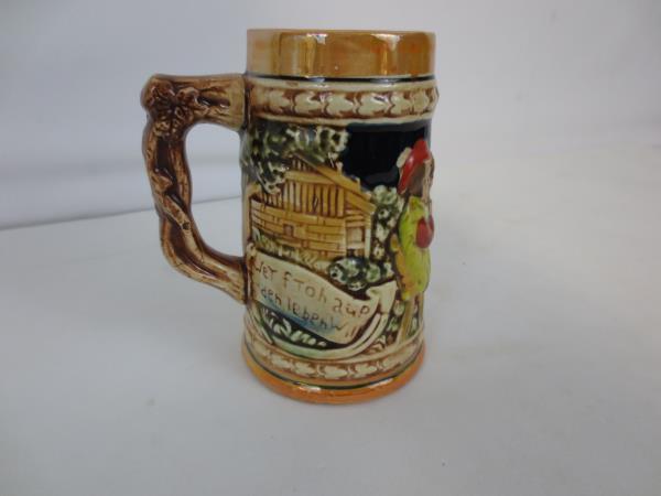 Vintage Enesco Ceramic California Tankard Stein German Drink Beer Remains Silent