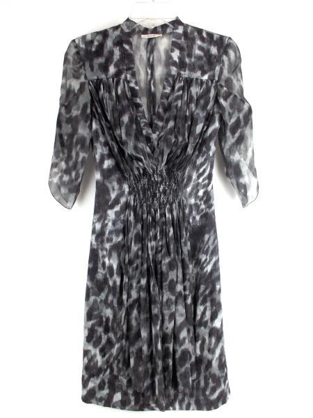 ANNA MOLINARI Silk V Neck Dress Gray Grey Tone Cocktail Italy Size 38