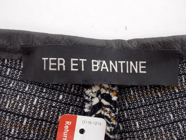 TER ET BANTINE Ethnic Weave Cotton Shorts High Waist Leather Trimmed Size 8