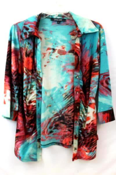 Laura Max Women's Button Up Top Multi-Color Abstract Design Size L