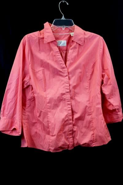 Lot Of 3 Women's Button Up Shirts Pink Salmon White & Blue Striped Size XL