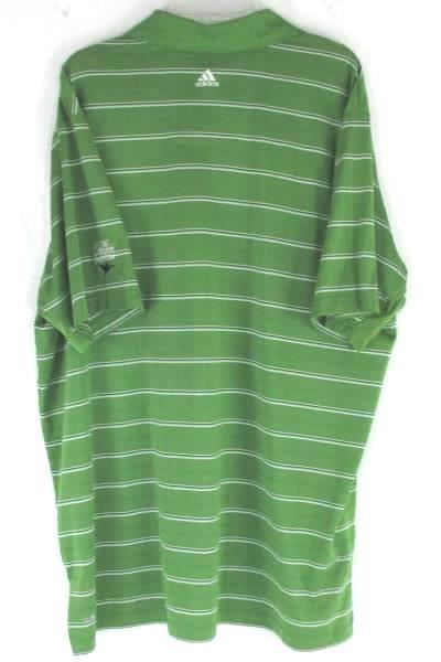 Adidas ClimaCool Gold Polo Size XXL Green Striped Polyester Oregon Golf Club