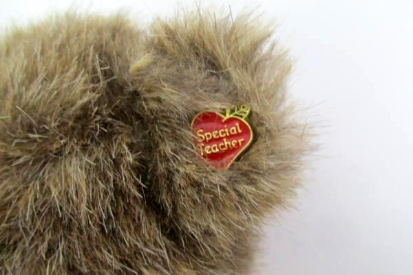 """Vintage 11"""" Boyds Plush Bear Jointed Apple Sweater + Special Teacher Pin"""