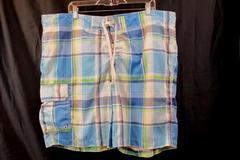Swim Trunks by Merona Blue White Green Plaid Men's Size XXL