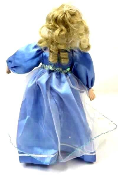 """16"""" Porcelain Doll Angel of Peace from Paradise Galleries Blonde Blue Dress"""