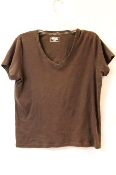 Classic T-Shirt By St Johns Bay Solid Brown Women's Size Large