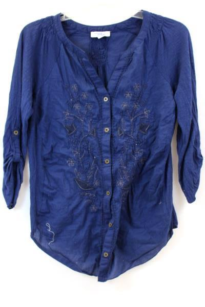 Women's Indigo T-Shirt By Great Northwest Long Sleeve Navy Floral Size S