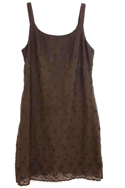 "Dress By Express Brown Floral Zipper 1"" Straps Women's Size 3/4"