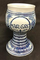 Personalized MAR GRET Ceramic Goblet Gebrüder Plein Speicher Germany Blue Relief