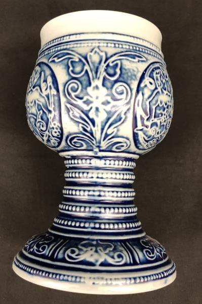 Personalized MAR GRET Ceramic Goblet Gebrüder Plein Speicher Germany Blue Relief