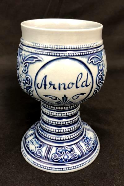 Personalized Arnold Ceramic Goblet Gebrüder Plein Speicher Germany Blue