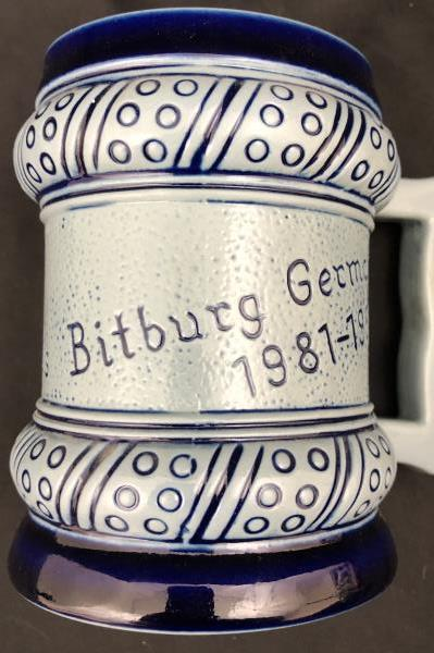 Gebrüder Plein Speicher Ceramic Stein Germany Blue GPS Bowling League