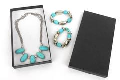Vintage Set of 3 Faux Turquoise Silver Tone Metal Necklace w/ Matching Bracelets