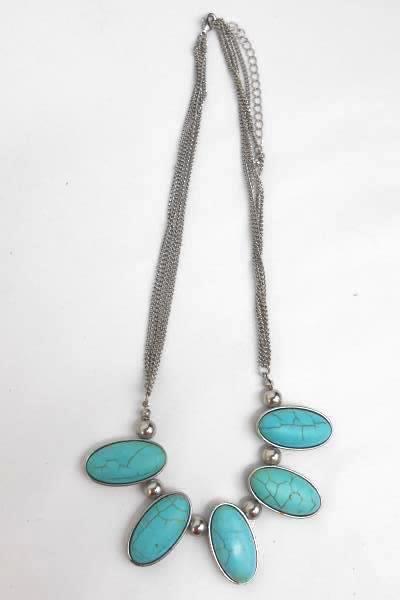 Vintage Set of 3 Faux Turquoise Silver Tone Metal Necklace w/ Matching Bracelets