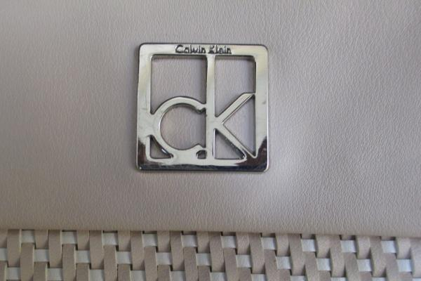 CALVIN KLEIN Leather Purse light pink Shoulder Strap w/Buckle Weaved