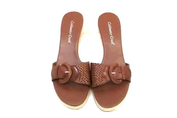 Coldwater Creek Wedge Heel Sandals Weaved Leatuer Buckle Size 8