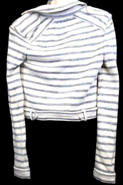 Sweatshirt By BCGC Maxizaria White Navy Blue Stripes Turtle Neck Women's SizeXS
