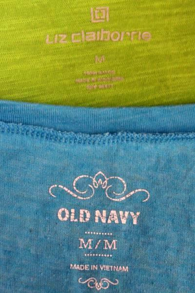 Women's Lot of 2 Blouse & T Shirt by Old Navy & Liz Claiborne- Blue Green Size M
