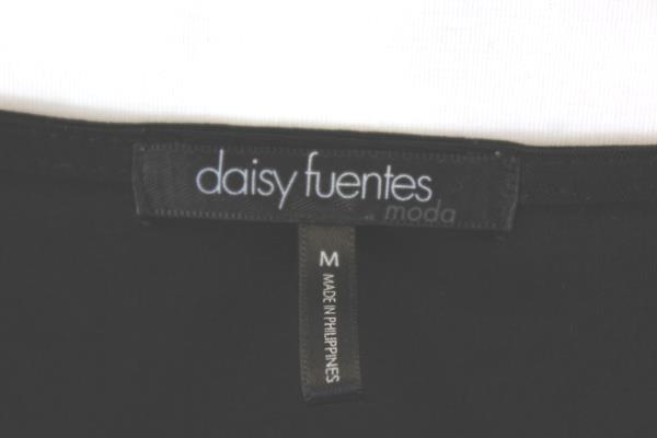 Daisy Fuentes Women's Blouse Black V-Neck Long Sleeve Size Small