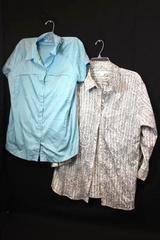 Lot of 2 Women's Button Up Shirts Grey Blue Green Plaid Size XL ~Columbia Liz Cl