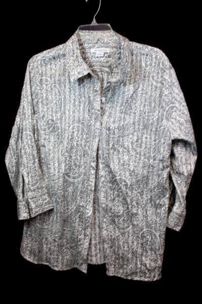 Lot of 2 Women's Button Up Shirts Grey Blue Green Plaid Size XL ~Columbia Liz Cl