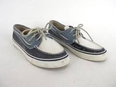 SPERRY Top-Sider Bahama Navy Blue White Canvas Loafer Boat Shoes Women's 6.5 M
