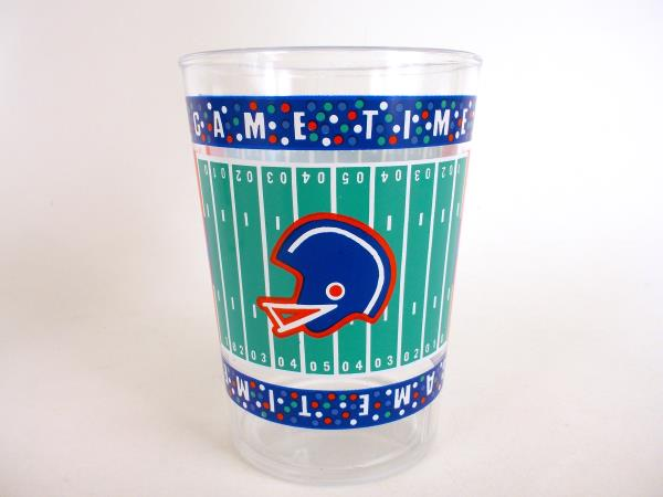 Vtg 10 Kitschy Game Day Cups Retro Football Themed Plastic Party Tumbler Set NIB