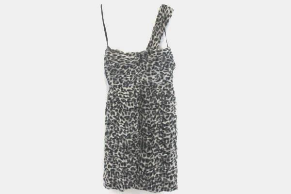 Dress By Calvin Klein Size 10 Leopard Silver Halter Top Dress With Zippered Back