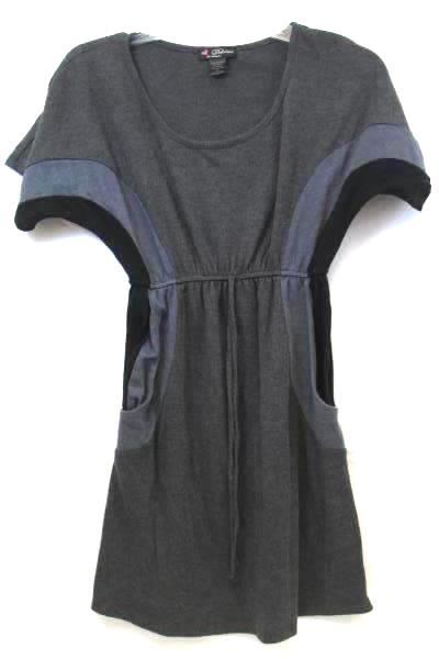 Dress by Delirious Solid Dark Gray w/Light Gray & Black Stripes Women's Size S