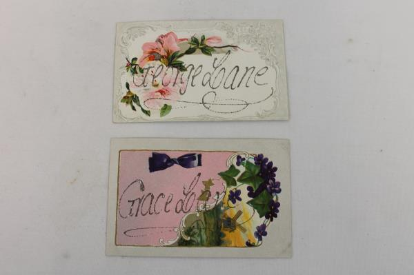 Lot of 4 Postcards Early 1900's Floral Embossed Gold Lettering Lane Family