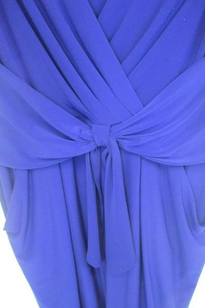 Ralph Lauren Dress Solid Blue Waist Tie Pockets Women's Size 10