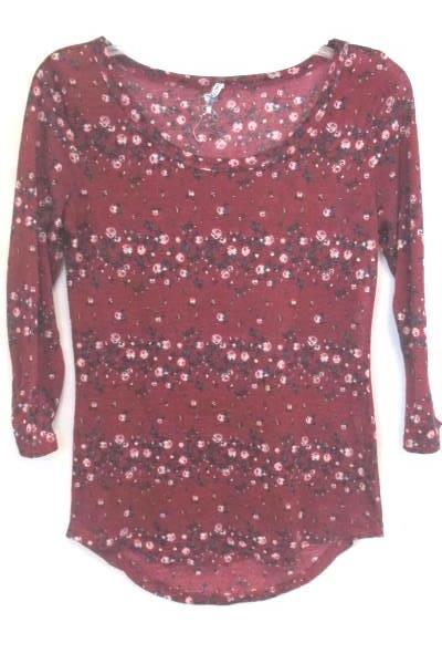 Wallflower Women's Red Floral Shirt 100% Polyester Size Medium