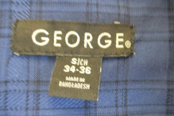 Dark Blue Plaid Men's Button Up Shirt By George Size Small
